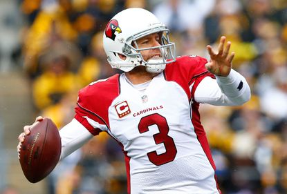 Carson Palmer #3 of the Arizona Cardinals makes a pass during the 1st quarter of the game against the Pittsburgh Steelers at Heinz Field on October 18, 2015 in Pittsburgh, Pennsylvania.