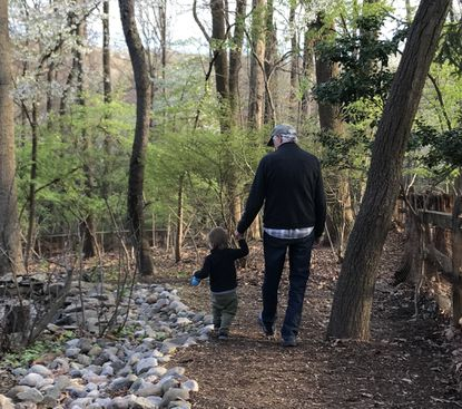 Barney Scout Mann walks with his 2-year-old grandson, Cormac. (Trevor Johnston/Handout)