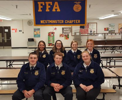 WHS FFA members receiving 2017 Chapter degrees are pictured, from left: front row: Derek Zavetz, Daniel Yingling, Katie Martin (Chapter Star); back row: Kandace Tignor, Angela Franzino, Michaela Bair, Alyson Lillibridge.