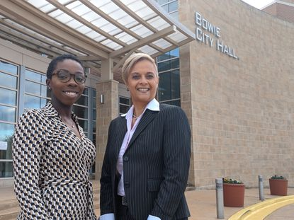 District 4 Bowie City Councilwoman Roxy Ndebumadu, left, and At-Large Councilwoman Ingrid Harrison pose for a photo at Bowie City Hall on November 8.