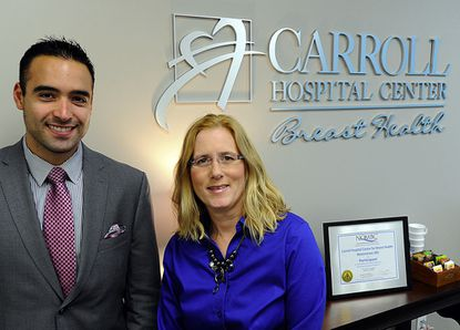 Gabriel Del Corral and Dona Hobart are shown in the new Breast Health Center at Carroll Hospital Center in Westminster.