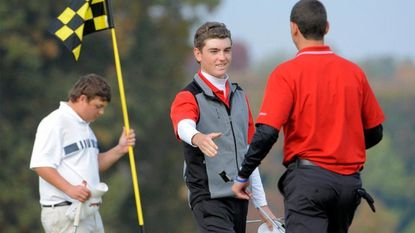 Steven Segrist of Glenelg High wins the 2013 Maryland state boys golf championship at the University of Maryland Golf Course in College Park.