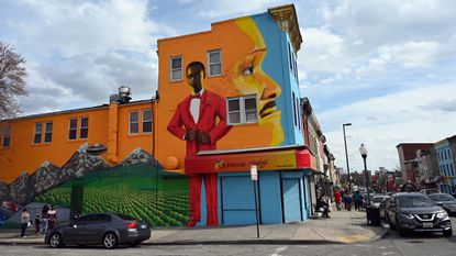 Colorful murals adorn several of the buildings along Pennsylvania Avenue. Community residents and leaders are hoping to revitalize the area into an arts district.