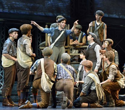 "A scene from North American touring production of ""Newsies."""