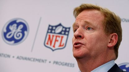 FILE PHOTO: Roger Goodell, Commissioner of the National Football League (NFL) speaks at a news conference announcing an Initiative to improve the diagnosis and treatment of brain injuries, in New York, NY, U.S. on March 11, 2013.