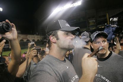 Paul Konerko celebrates after the White Sox won the World Series.