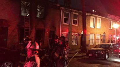 The aftermath of a heavy fire at a rowhome in the 2000 block of Brunt St.