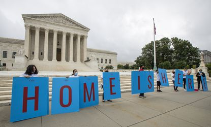 In this June 18, 2020, file photo, Deferred Action for Childhood Arrivals (DACA) students gather in front of the Supreme Court in Washington. (AP Photo/Manuel Balce Ceneta, File)