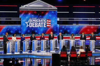 Democratic presidential candidates participate in a debate in Atlanta last month.