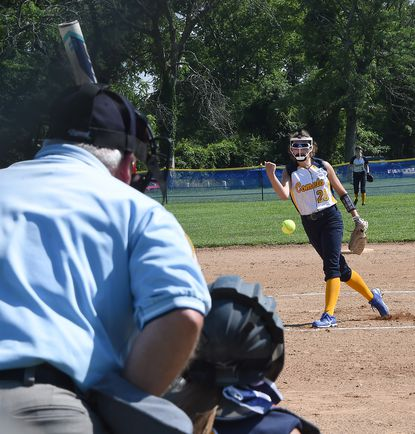 Catonsville starting pitcher, #20, Sammi Sisolak pitches in the 1st inning. She pitched a 2-hit (bunts) shutout with 14 strikeouts to defeat Dulaney, 5-0. Catonsville vs Dulaney in Class 4A North Section I Region Championship Softball game Monday June 14, 2021.