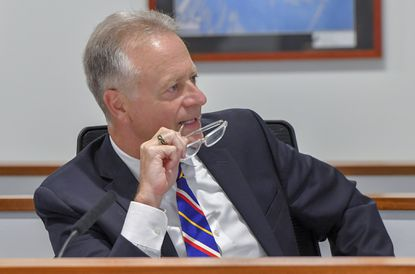 Howard County School Superintendent, Michael Martirano during a school board meeting in Ellicott City.