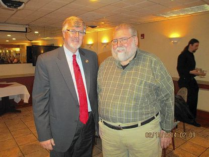 Jim Richardson, executive director of Harford County Office of Economic Development, was guest speaker at the recent meeting of Mason-Dixon Business Association. Richardson, left, is standing with Gene Jones, president of the association.