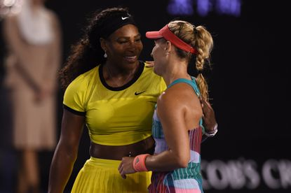 Serena Williams congratulates Germany's Angelique Kerber on her victory in the women's singles final.
