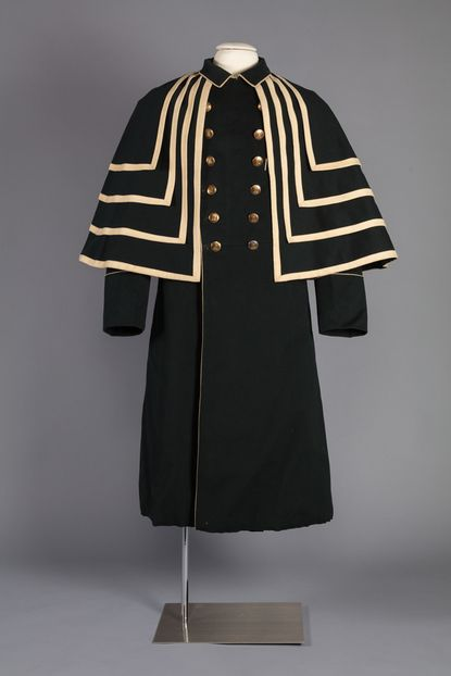 Coat worn by Tilghman Davis, a formerly enslaved servant who worked for a driver for the Ridgely family of Hampton. The coat, worn with a cape and matching hat, would have cost the equivalent of more than six month's labor. Both coat and cape are on display at the Maryland Center for History and Culture through December.