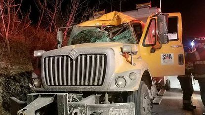 Deer crashes through Maryland snow plow windshield, pinning driver inside