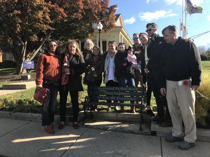 Bob Bonds Sr.'s family gathered around his memorial bench in Sykesville.