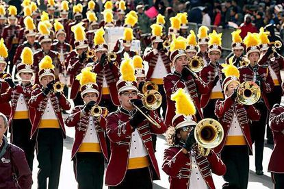 Members of the Havre de Grace High School Warrior Pride Band march down Fifth Avenue in the 2017 New York City Veterans Day Parade. On Monday, the Havre de Grace city council voted to have a parade to celebrate living veterans on Nov. 11, rather than the wreath-laying ceremony, which some said is too similar to the city's Memorial Day event.