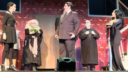 From left: Heather Moe as Wednesday Addams, Caitlin Grant as Grandma Addams, Vincent Musgrave as Gomez Addams, Michael Crook as Uncle Fester, and Santina Maiolates