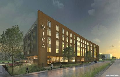 A rendering shows the northeast corner of the planned Commons II, a five-story building on the MICA campus with 62 apartments that could accommodate about 240 students.