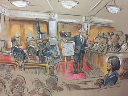 Courtroom sketch during the William Porter trial about the death of Freddie Gray while in police custody.