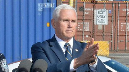 """Vice President Mike Pence will deliver his Republican National Convention address next week from Fort McHenry in Baltimore, marking a return by national Republicans to a city President Donald Trump has called corrupt and """"rodent infested."""" Pence is shown during a Feb. 8, 2019, visit to the Port of Baltimore."""