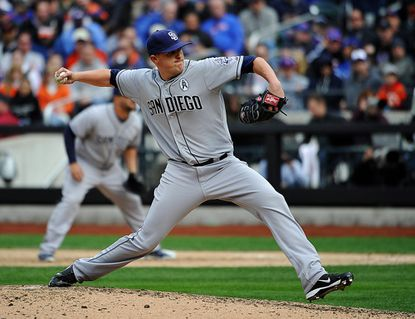 Former Padres relief pitcher Brad Brach throws against the Mets April 1, 2013 in New York.
