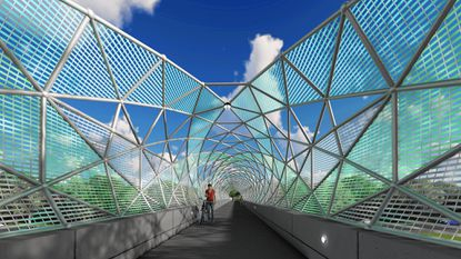 Renovations to Bridge Columbia, which is above Route 29 in Columbia, include a geometric structure and lighting upgrades.
