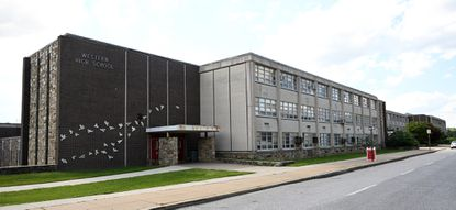 Exterior of Western High School at 4600 Falls Road.