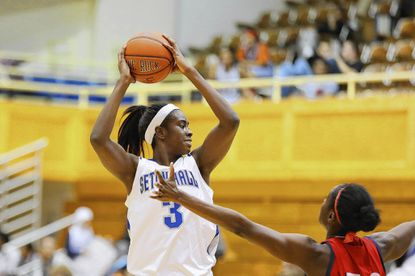 Former St. Vincent Pallotti standout Chizzy Ekedigwe is playing big for Seton Hall University in her junior season.