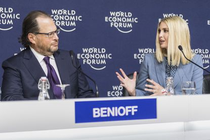 Ivanka Trump, senior adviser to her dad, President Donald Trump, and Marc Benioff, the founder, chairman and CEO of Salesforce, attend a press conference at the World Economic Forum in Davos, Switzerland, on Jan. 22, 2020.
