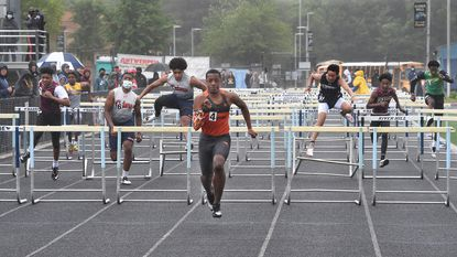 Boys 110 Meter Hurdle Finals winner, #4, Oakland Mill's Isiah Rucker 15.09. 2021 Howard County outdoor track and field championships Saturday May 29, 2021 at River Hill High School.