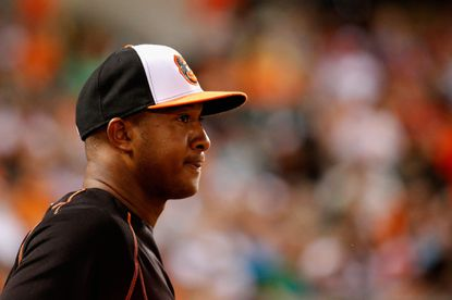 Jonathan Schoop looks on from the dugout during the Orioles 19-3 win over the Philadelphia Phillies.