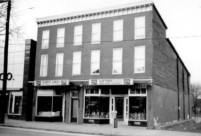 Harry's Main Street, shown as it appeared in the early 1970s, was started in 1946 by Greek immigrants Harry and Bessie Amprazis at 54 West Main Street in Westminster between Lefteris' grocery store and J. C. Penney's. Several years later, the building was torn down when John, Bond and Main streets were realigned.