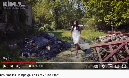 In a campaign video, Republican Kim Klacik, who challenged 7th District Rep. Kweisi Mfume and lost, walks between piles of trash in a Baltimore neighborhood. Ms. Klacik has made what appear to be baseless claims of voting irregularities in her race, mirroring President Trump's claims.
