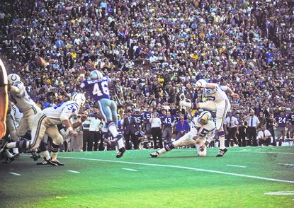 Baltimore Colts' kicker Jim O'Brien kicks the game-winning field goal against the Dallas Cowboys during Super Bowl V at the Orange Bowl on January 17, 1971 in Miami,.