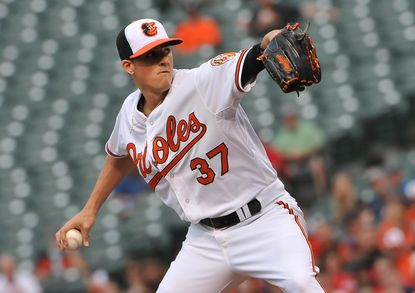 Kevin Gausman pitches against the Red Sox at Camden Yards.