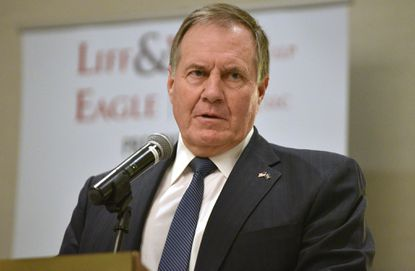 New England Patriots head coach Bill Belichick, pictured speaking during the 62nd annual Touchdown Club of Annapolis Football Banquet in 2018, is due to receive the keys to the city during a ceremony at the Army-Navy men's lacrosse game, being held April 24 at Navy-Marine Corps Memorial Stadium.