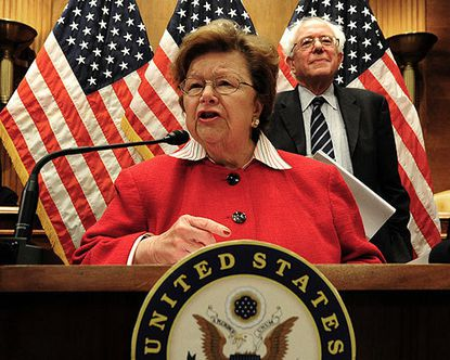 Sen. Barbara Mikulski speaks at a rally on Social Security and Medicare at the Dirksen Senate Building.
