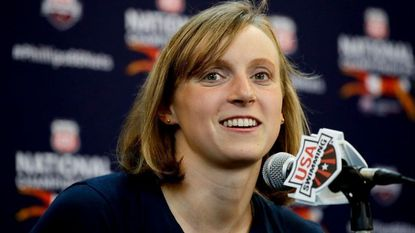 Katie Ledecky talks during a news conference for the Phillips 66 National Championship Swimming meet Tuesday, July 24, 2018, in Irvine, Calif.