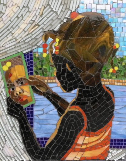 """- Rosyln Zinner's mosaic 'Identity' is part of the """"Works from Our Member Congregations"""" show at Oakland Mills Interfaith Center through April 2."""