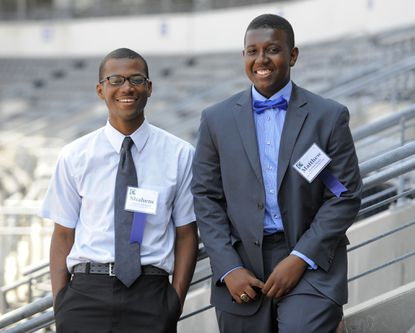 Shahem McLaurin, left, of Friendship Academy of Science and Technology, and Matthew Reeds of Poly were the winners of the Baltimore Community Foundation College Scholarship in 2013.