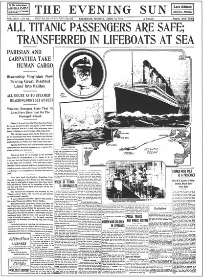 The April 15, 1912 Evening Sun falsely reported that all Titanic passengers were safe.