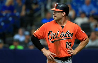 Chris Davis of the Baltimore Orioles looks on in the third inning after an interference call during game two of a doubleheader against the Tampa Bay Rays at Tropicana Field on September 3 in St Petersburg, Florida.