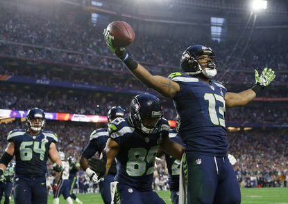 Former Seattle Seahawks wide receiver Chris Matthews (13) celebrates his touchdown catch during the first half of Super Bowl XLIX against the New England Patriots, Sunday, Feb. 1, 2015, in Glendale, Ariz.Matthews was signed to the Ravens' practice squad, Monday, Nov. 23, 2015.