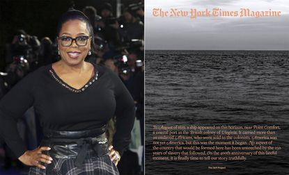"""In this combination photo, Oprah Winfrey poses for photographers at the premiere of the film """"A Wrinkle In Time"""" in London on March 13, 2018, left, and cover art for a special issue of The New York Times Magazine's """"The 1619 Project. Winfrey and Lionsgate are partnering with Pulitzer Prize-winning journalist Nikole Hannah-Jones to adapt The New York Times' 1619 Project for film and television. Lionsgate said Wednesday that it will work alongside """"The 1619 Project"""" architect Hannah-Jones to develop a multi-media history of the legacy of slavery in America for a worldwide audience."""