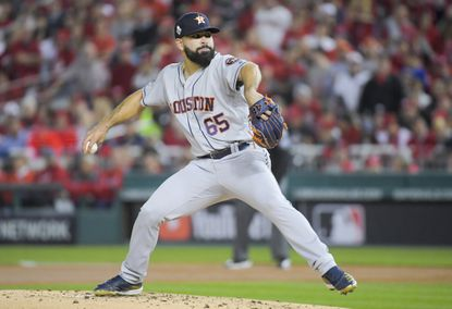 Astros starting pitcher Jose Urquidy (65) throws a pitch during the first inning in Game 4 of the World Series between Houston and the Washington Nationals. MUST CREDIT: Washington Post photo by John McDonnell