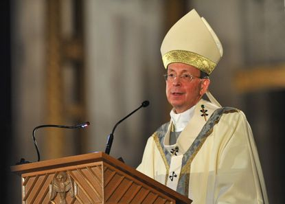 Archbishop William E. Lori speaks from the pulpit at the Mass of Thanksgiving to celebrate the 225th Anniversary of the Archdiocese of Baltimore at the Cathedral of Mary Our Queen.