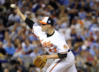 Orioles closer Jim Johnson tosses a 1-2-3 eighth inning in the 83rd All-Star Game.