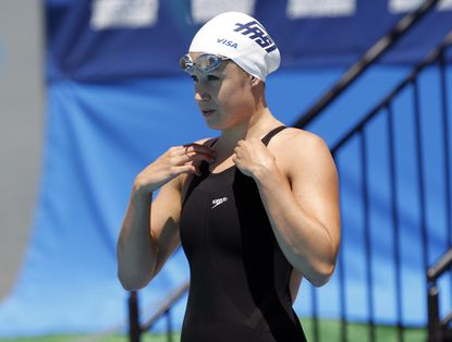 Katie Hoff prepares to swim during heats for the women's 400 meter freestyle at the U.S. National Swimming Championships in Irvine, California August 3, 2010.