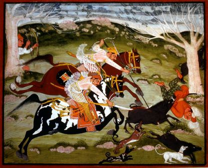 """In the Indian painting """"A Wild Boar Hunt,"""" the artist conveys the excitement of a hunt -- very likely one that actually took place in the reign of the rider depicted on the upper horse, Maharaja Bhao Singh (1659-82)."""